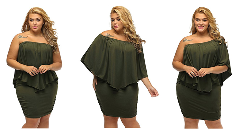 green plus size off shoulder dress
