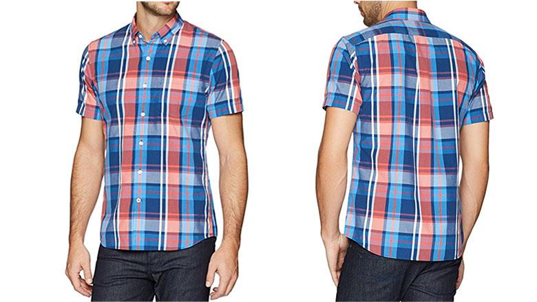 goodthreads mens slim-fit short sleeve large-scale plaid shirt