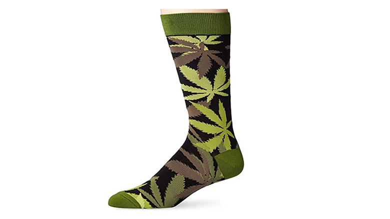 green pot luck marijuana leaf fun socks