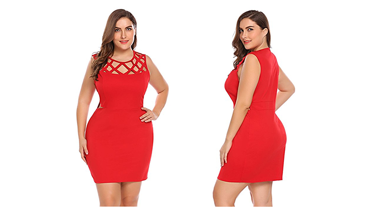 red plus size mini dress