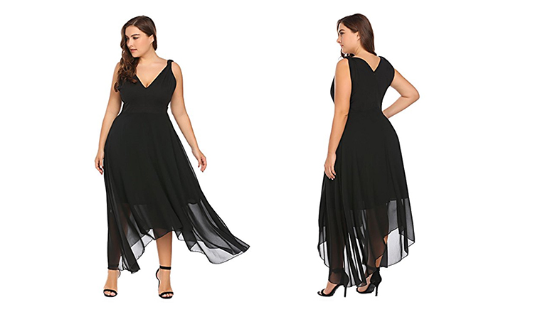 black plus size black cocktail dress
