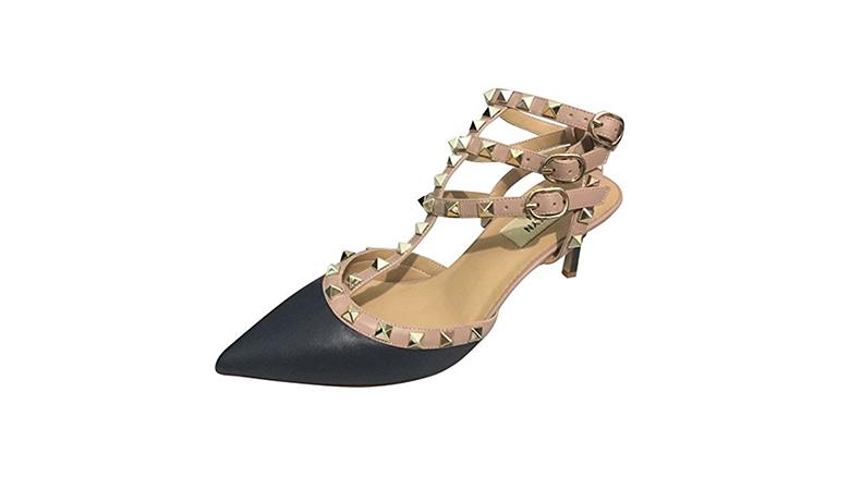 studded kitten heels, kitten heel slingbacks, kitten heel pumps, kitten heel shoes