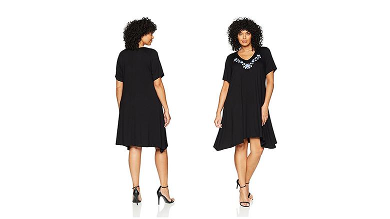 plus size handkerchief dress, plus size little black dress, plus size black dresses, plus size lbd