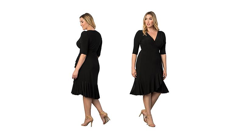 plus size wrap dress, plus size little black dress, plus size black dresses, plus size lbd