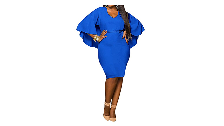 blue plus size batwing dress