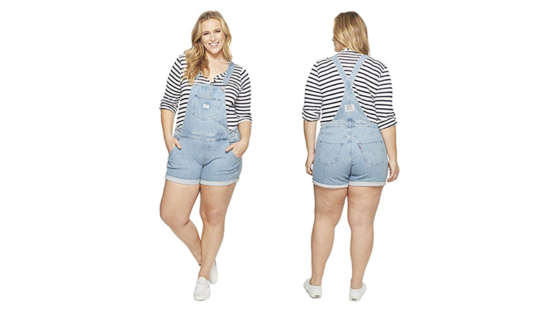 levi's overall shorts, plus size denim shorts, plus size jean shorts, women's plus size shorts