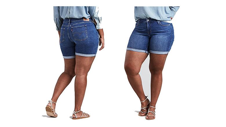 levi's plus size shorts, plus size denim shorts, plus size jean shorts, women's plus size shorts