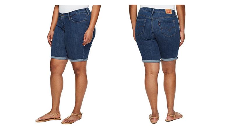 Levi's denim shorts, plus size denim shorts, plus size bermuda shorts, plus size jean shorts