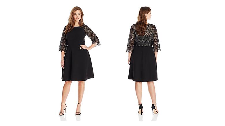 plus size lace sleeve dress, plus size little black dress, plus size black dresses, plus size lbd