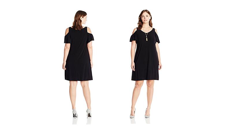 plus size cold shoulder dress, plus size little black dress, plus size black dresses, plus size lbd