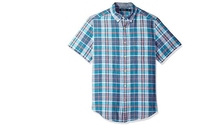 Green plaid men shirt Button up Short sleeve shirt Vintage Mens Checkered shirt Trachten shirt  Size Large to XL