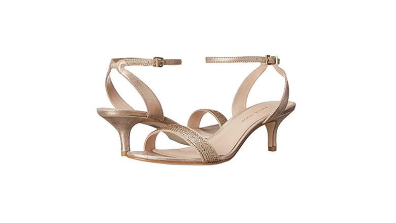 gold kitten heels, kitten heel sandals, kitten heel shoes