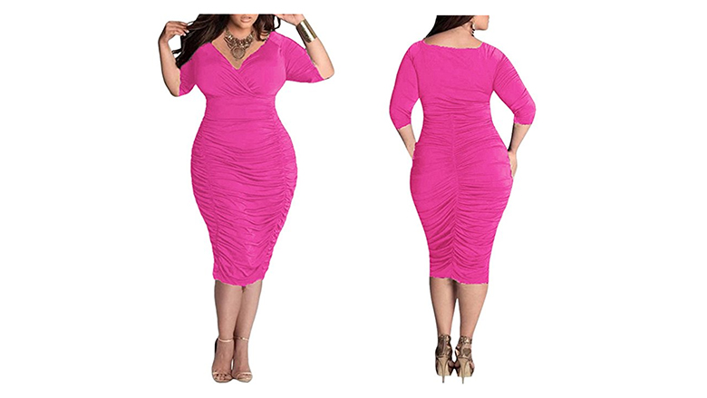 hot pink plus size ruched dress