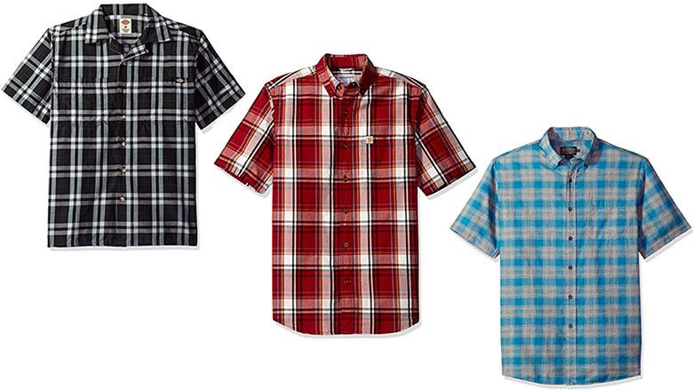mens short sleeve plaid shirts