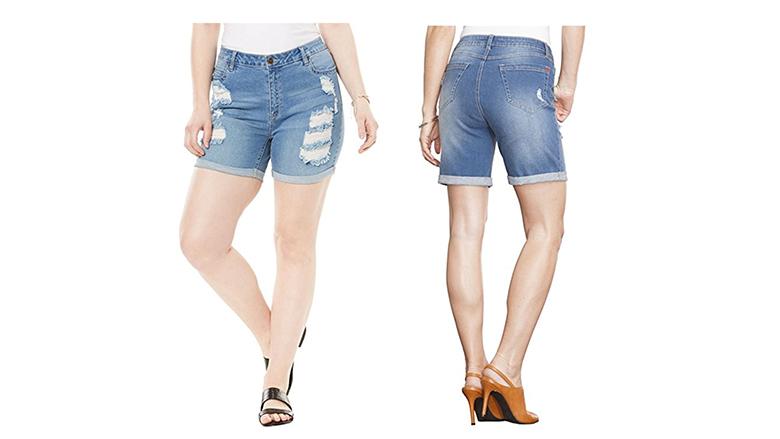 roamans shorts, plus size denim shorts, plus size jean shorts, women's plus size shorts