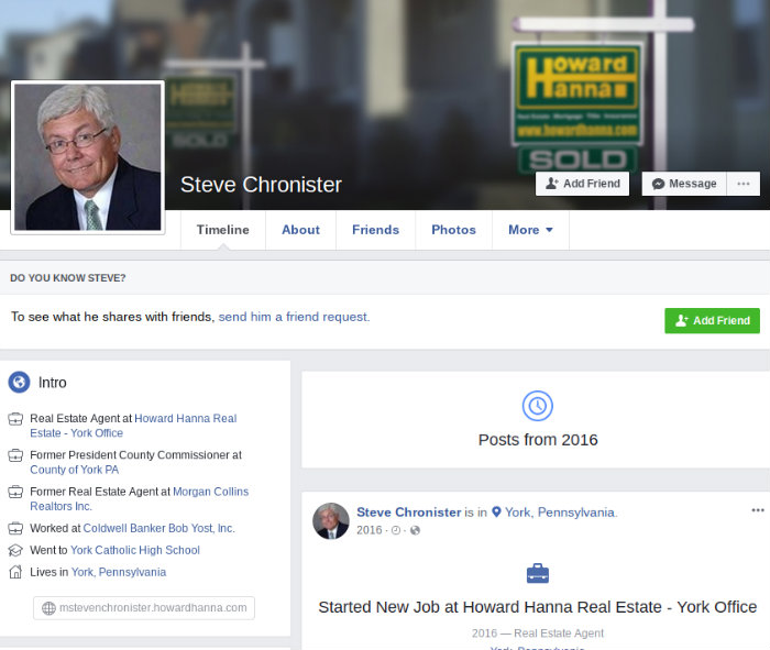 Steve Chronister Pennsylvania, Steve Chronister PA Facebook