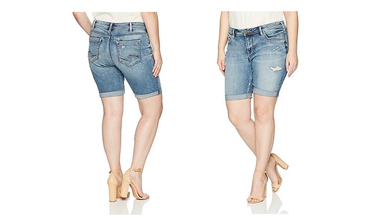 Silver Jeans Co Womens Plus Size Boyfriend Relaxed Fit Jean Shorts