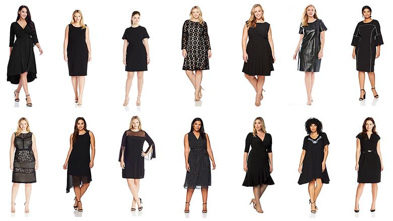 flattering plus size little black dress