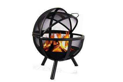 Sunnydaze 30 Inch Sphere Black Flaming Ball Fire Pit with ProtectiveCover