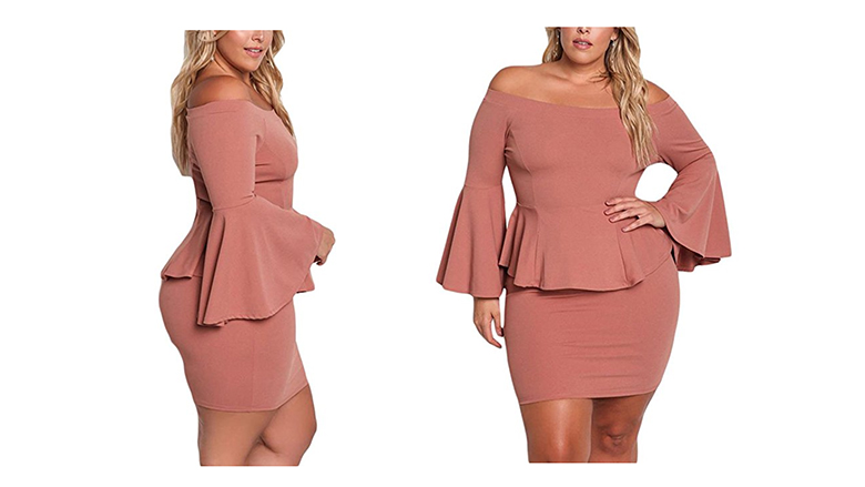 pink plus size peplum dress
