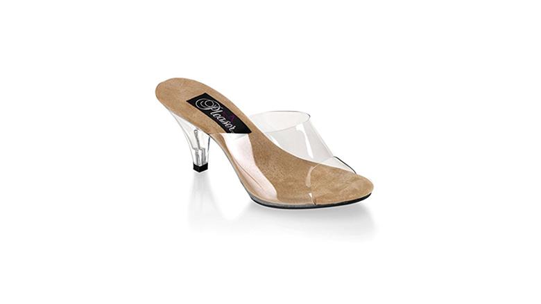clear sandals, kitten heel slides, kitten heel sandals, kitten heel shoes