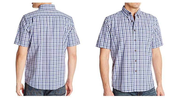 wrangler mens short sleeve plaid woven shirt
