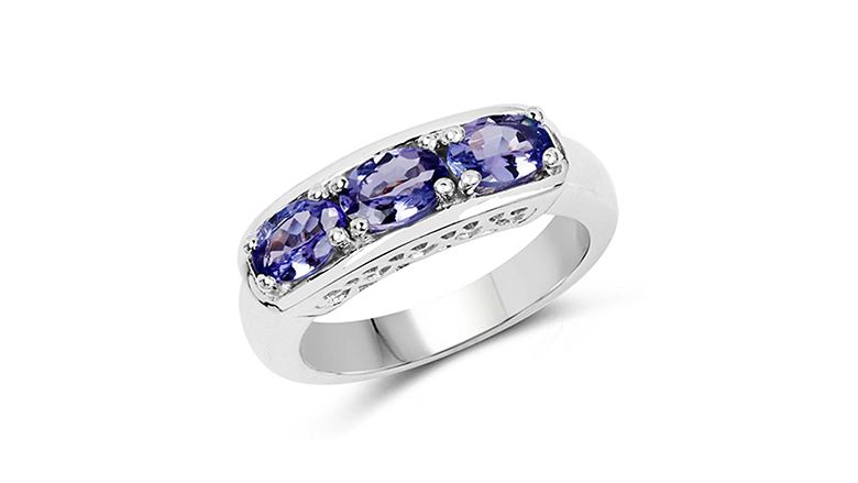 Natural oval tanzanite and sterling silver three stone ring