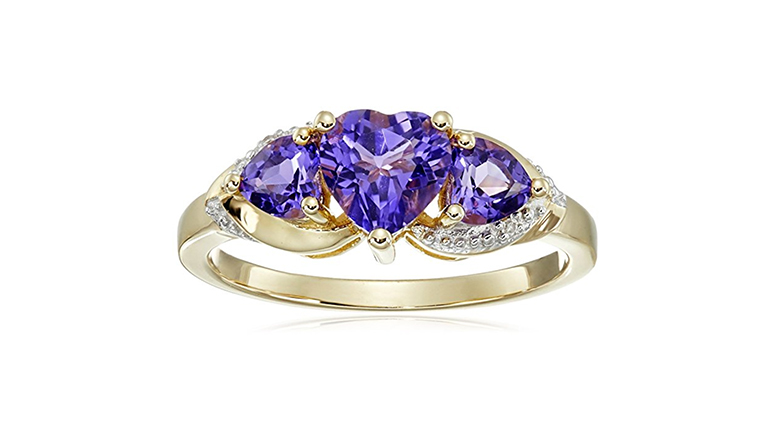 10k yellow gold triple amethyst heart ring with diamond accents