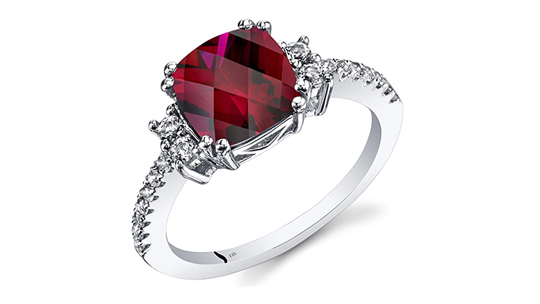 14k white gold 3.00 carat created ruby ring with white topaz accents