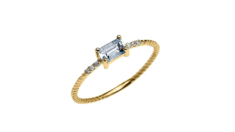 14k gold emerald cut aquamarine and diamond dainty ring