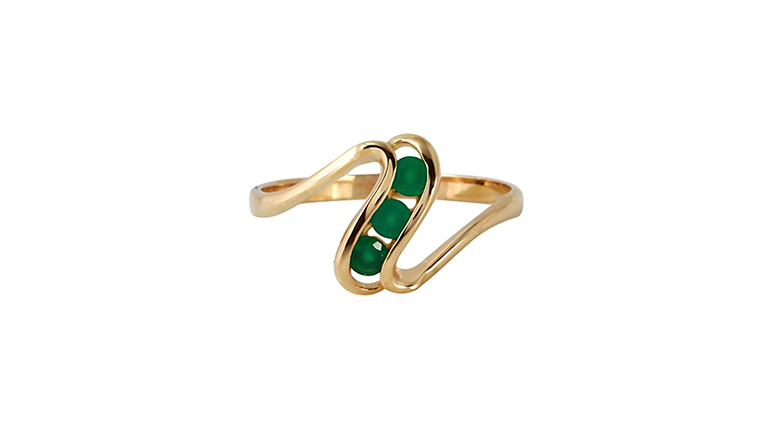 14k yellow gold & channel set emerald three stone ring