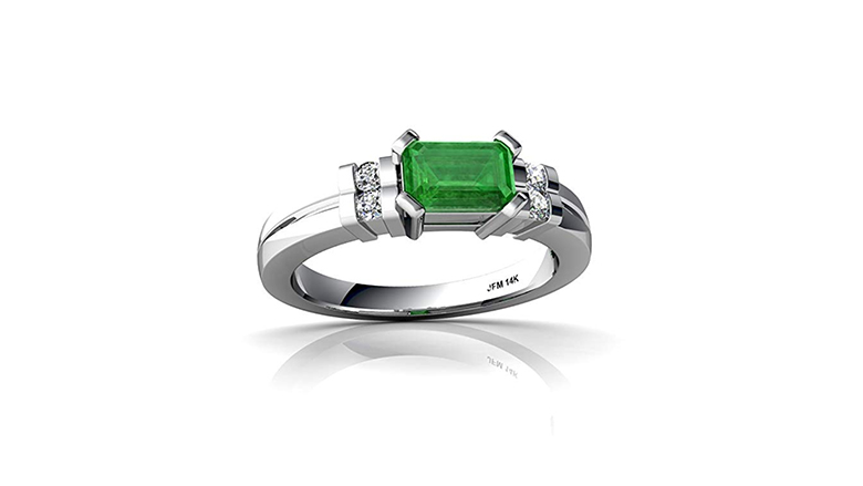 14k white gold emerald and diamond art deco ring