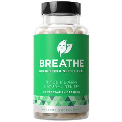 breathe 60 Vegetarian Soft Capsules Non-Drowsy Formula with Quercetin & Nettle Leaf