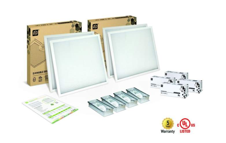 4-PACK ASD LED Panel 2x2 Dimmable Direct-Lit