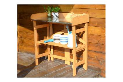 folding wood potting bench