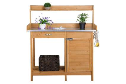 wood potting bench with galvanized top