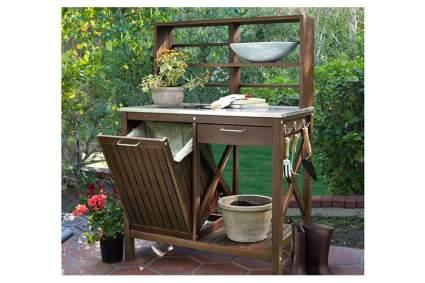 acacia wood potting bench