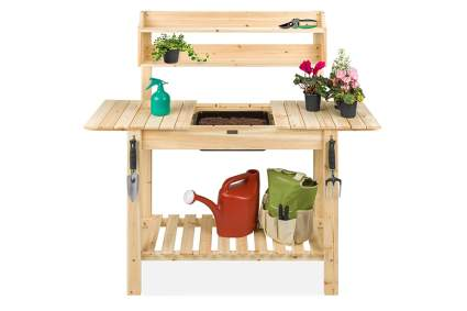 slide top cedar potting bench