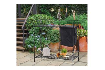 black metal potting bench