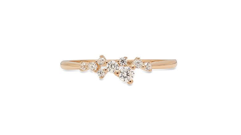 14k yellow gold & round diamond cluster ring