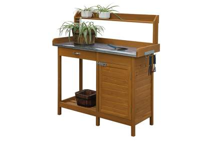 oak potting bench with metal work top