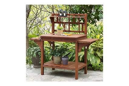 craftsman style wood potting bench