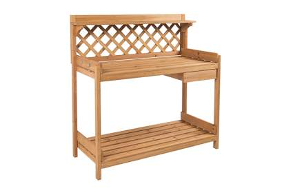 fir potting bench with drawer