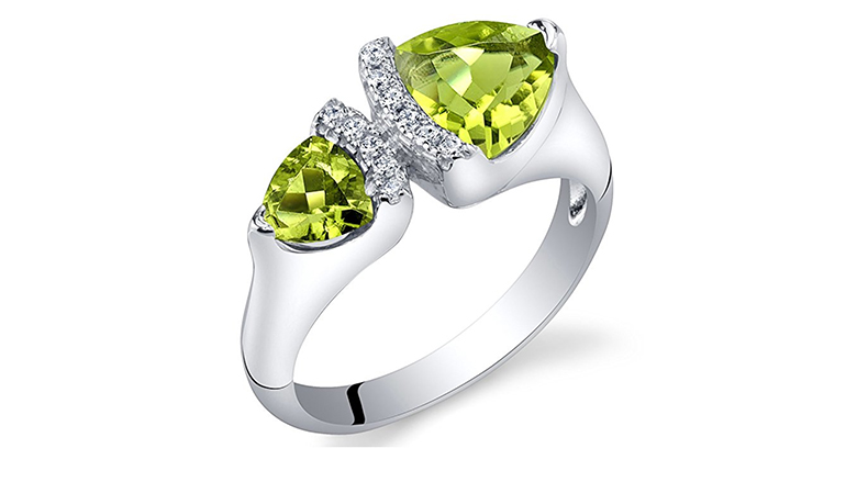trillion cut two stone peridot and cubic zirconia silver ring