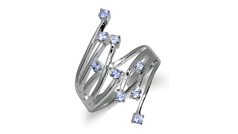sterling silver and genuine tanzanite bypass cluster ring