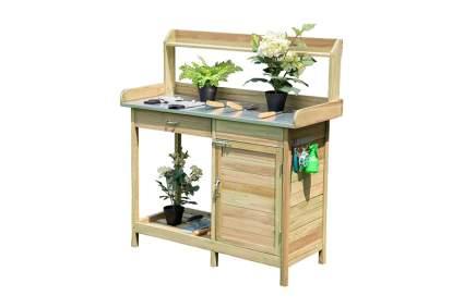 wood potting bench with metal worktop