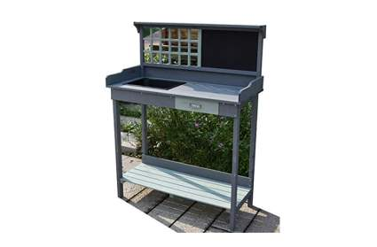 gray wood potting bench with sink