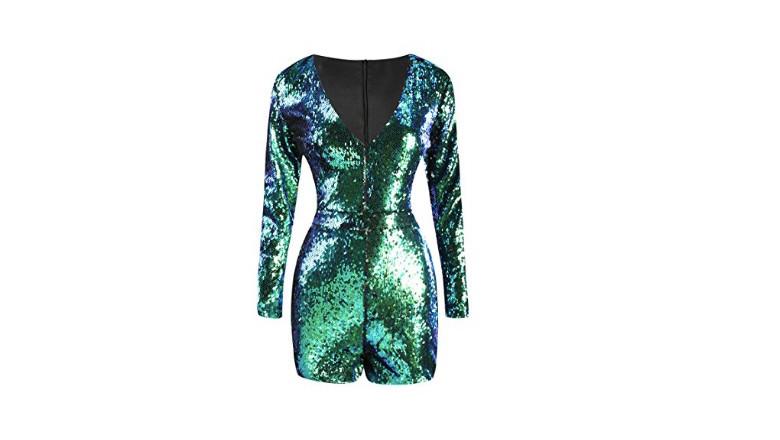 green sequin bodysuit