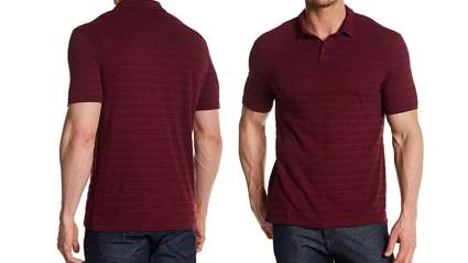 john varvatos mens short sleeve variegated striped polo shirt