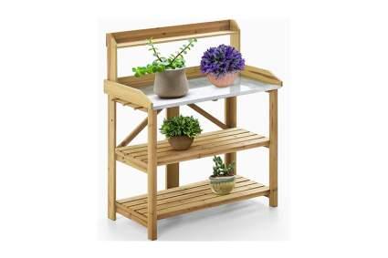 folding wood potting bench